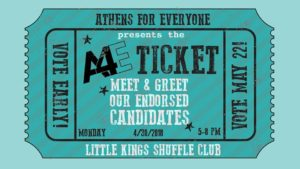 A4E Ticket: Endorsed Candidate Meet & Greet @ Little Kings Shuffle Club | Athens | Georgia | United States